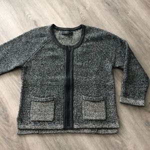 Rag & Bone knit cardigan w leather trim